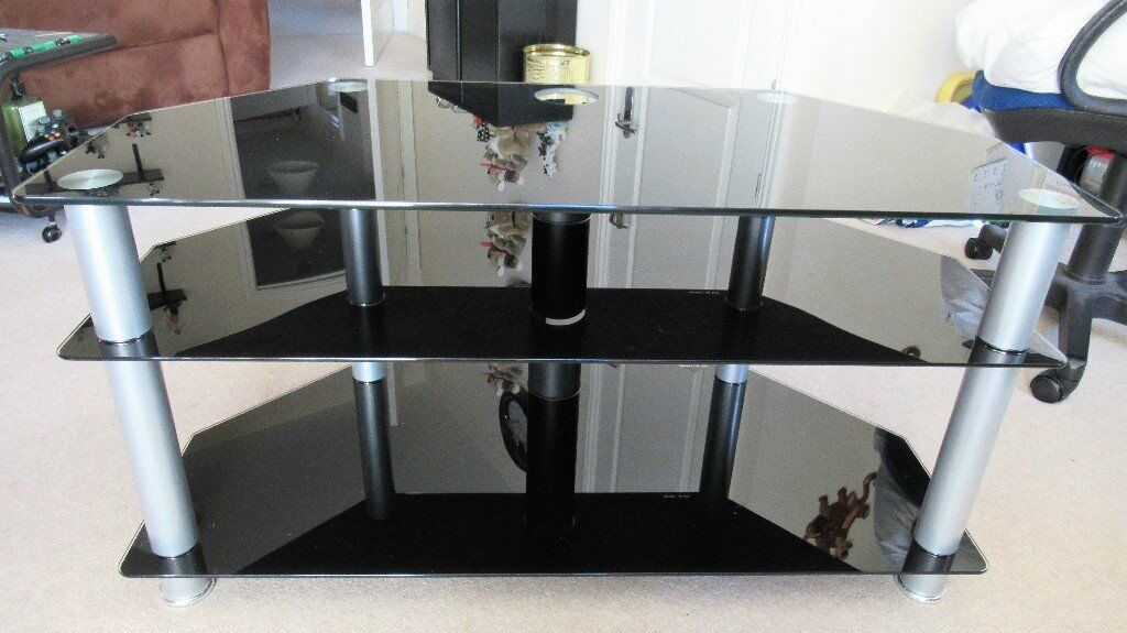 "UP TO 50"" TV STAND - BLACK GLASS/SILVER LEGS"