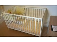 Cot Bed in white, Nursery Cot Bed converts into Junior Size Bed