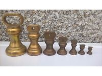 ANTIQUE SET OF BRASS WEIGHTS FOR SCALES