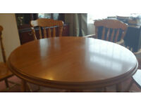 Round/Oval Extending Dining Pine Table & 6 Matching Chairs