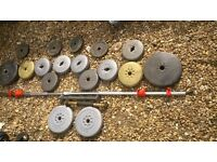 vinyl weights set over 40 kg barbell ,dumbbells