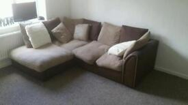 Corner sofa and spinning arm chair