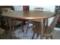 VINTAGE ERCOL STYLE SOLID WOOD DINNING SET LEAF DROP TABLE