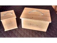 WOODEN BREAD BIN/BOX & BISCUIT BARREL/BOX