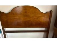 VONO mid-century double bed frame with figured walnut on solid mahogany head & footboards.