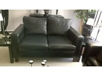 2+3 seater faux leather black sofas for sale £100 or ono buyer collects