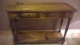 Hall Console Table Solid Wood 2 Drawers Shelf Side