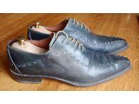Rare dark blue men's leather shoes - size 12 (46)