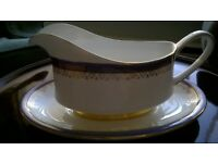 Fine bone china dinner service - made by Paragon, Sandringham. White with silver & blue decoration