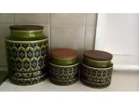 Hornsea Storage Jars, green, one large, two small, with content part of pattern