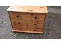 PINE CHEST DRAWERS ,SOLID BUT A FEW MARKS FROM YEARS OFF USE