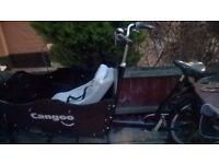 Cangoo cargo bike 7 gear shimano hubgear with rain cover
