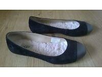 UGG black leather flat shoes UK 4.5 (more like 3.5)