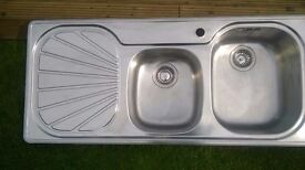 Franke Double bowl stainless steel sink.