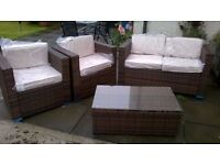 High Quality Rattan Garden Set - sofa, 2 armchairs and glass top coffee table - cream cushion