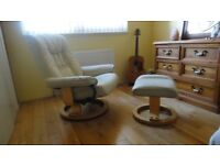 Reclining real leather chair & matching stool