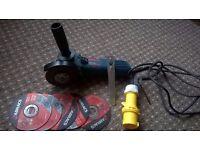 Bosch Blue Professional GWS600 4.5 angle grinder 110v + 5 metal blades