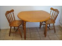 Farmhouse style kitchen table and 2 chairs