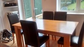 Wood Dining Table and 6 Brown Chairs £45 Used