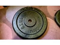 "Two 15kg cast iron weight discs. Body Revolution - 1"" hole. 30kg total weight"
