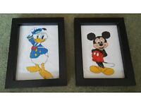 Mickey mouse and Donald duck framed cross stitch
