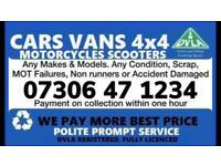 ♻️ SELL MY CAR VAN BIKE CASH ON COLLECTION SCRAP DAMAGED NON RUNNING WANTED COLLECT TODAY NORTH