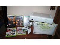 Microsoft Xbox 360 White Console and games