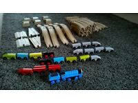 60 piece wooden train track with Gordan train set and 19 other magnetic train pieces