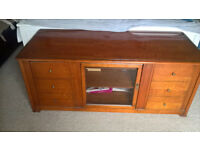 Large High Quality Wooden & Glass TV Storage Unit