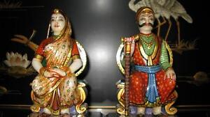 Hand carved solid marble Indian King and queen set