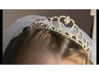 Girls communion veil and tiara