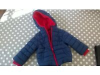 Mothercare Blue fleece-lined coat, Good Condition, 12-18 months