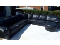 CUSTOM MADE VERY LARGE BLACK LEATHER CORNER SOFA-12 SEATER- ORIGINALLY 11K -FREE DELIVERY-£4,995 ONO