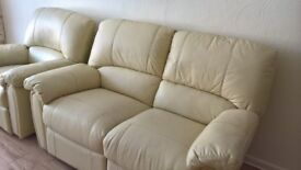 cream leather 3 piece suite reclining wonderful condition OBO