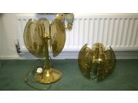 brass ceiling and table lamp
