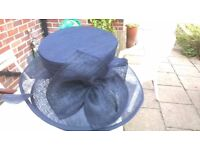 Gorgeous navy blue silk and sinnamay straw hat