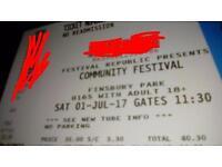 Community Festival tickets x3
