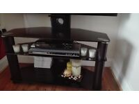 Black tv unit with integrated mount