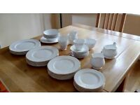 Bone china dinner set (Fentons, fine china) 54 pieces, white with gold trim, not quite complete.
