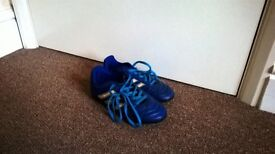 Blue Adidas Football Boots with Plastic Studs - Size 12.5