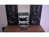 jvc 3cd stereo player with 140 watt sony speakers and buttons