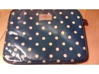 Cath Kidston Padded Laptop Case Sleeve Bag Navy Blue Polka Dot Dotty Spotty Cotton PVC