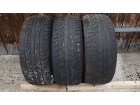 Three Dunlop runflat tyres part worn with no damage