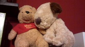 Winnie the pooh and dog soft toys £5.00 Free delivery in Manchester city centre. Second hand