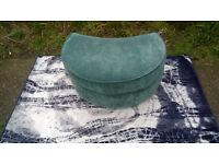 A Teal Fabric Half-moon Footstool