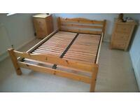 pine bedframe with steel structure and slates, external size 203cm x 148cm. mattress 140cmx190cm x