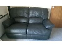 2 seater black leather recliner sofa free to good home