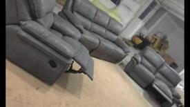 3+2 Grey Suede fabric recliner sofa