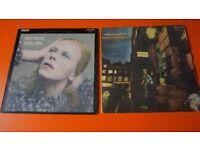 2 X DAVID BOWIE ORIGINAL 1970'S VINYL LP'S HUNKY DORY ZIGGY STARDUST& THE SPIDERS FROM MARS