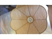 VINTAGE RATTAN SCALLOPED EDGE CEILING LAMPSHADE